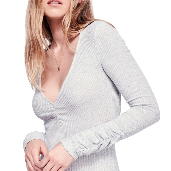 Free People Tops - NWT Free People Cozy Up With Me Bodysuit  Pebble